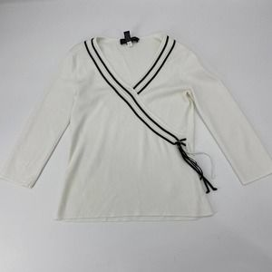 CABLE & GAUGE White 3/4 Sleeve Pullover Sweater